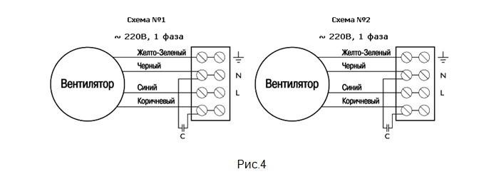 Схема подключения канального вентиляторадля круглых каналов RS (Ostberg)