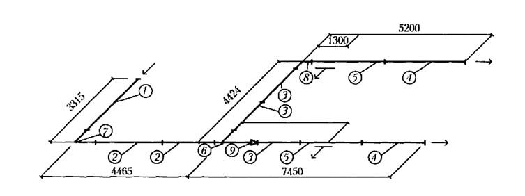 Фрагмент монтажной схемы воздуховодов: